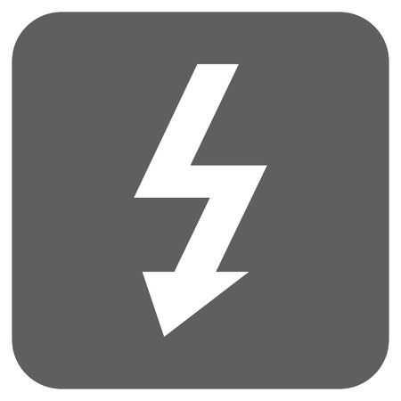 voltage symbol: High Voltage vector icon. Image style is a flat icon symbol on a rounded square button, white and silver gray colors.