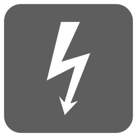 high voltage symbol: High Voltage vector icon. Image style is a flat icon symbol inside a rounded square button, white and silver gray colors.