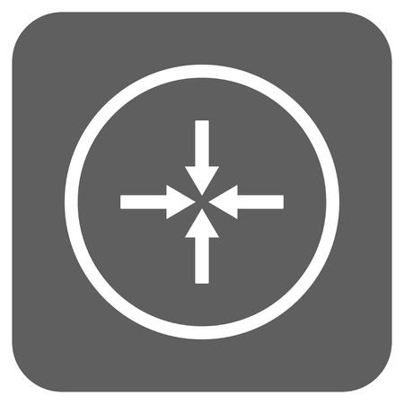 shrink: Impact Arrows vector icon. Image style is a flat icon symbol on a rounded square button, white and silver gray colors. Illustration