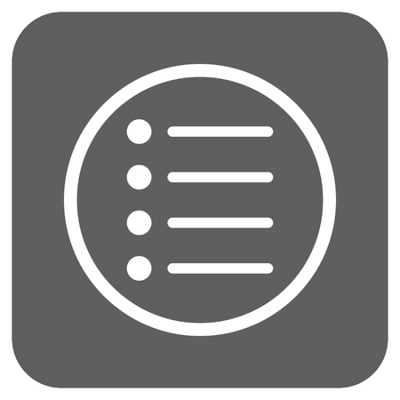 numerate: Items vector icon. Image style is a flat icon symbol on a rounded square button, white and silver gray colors. Illustration