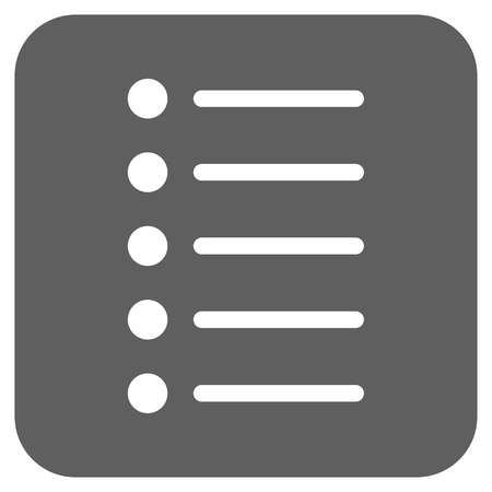 Items vector icon. Image style is a flat icon symbol inside a rounded square button, white and silver gray colors.