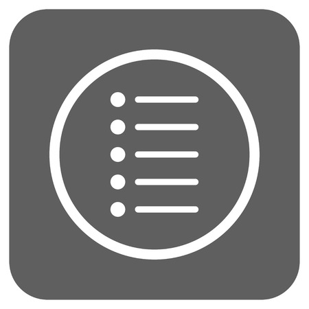 numerate: Items vector icon. Image style is a flat icon symbol in a rounded square button, white and silver gray colors. Illustration