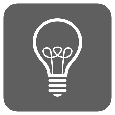 gray bulb: Lamp Bulb vector icon. Image style is a flat icon symbol on a rounded square button, white and silver gray colors.
