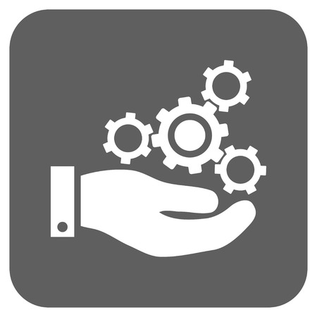silver service: Mechanics Service vector icon. Image style is a flat icon symbol on a rounded square button, white and silver gray colors.