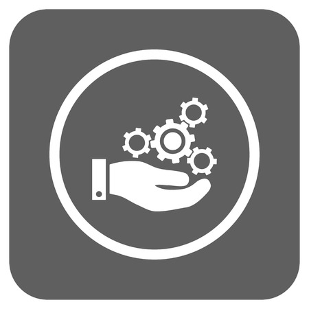 silver service: Mechanics Service vector icon. Image style is a flat icon symbol inside a rounded square button, white and silver gray colors.