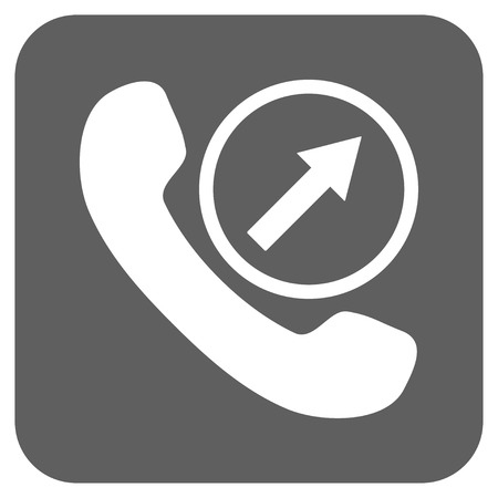 outgoing: Outgoing Call vector icon. Image style is a flat icon symbol inside a rounded square button, white and silver gray colors.