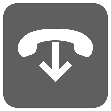 hang up: Phone Hang Up vector icon. Image style is a flat icon symbol inside a rounded square button, white and silver gray colors.