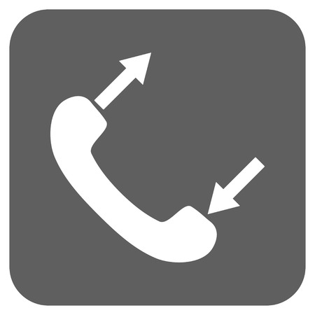 phone talking: Phone Talking vector icon. Image style is a flat icon symbol on a rounded square button, white and silver gray colors. Illustration