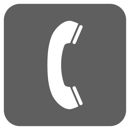 phone receiver: Phone Receiver vector icon. Image style is a flat icon symbol on a rounded square button, white and silver gray colors.