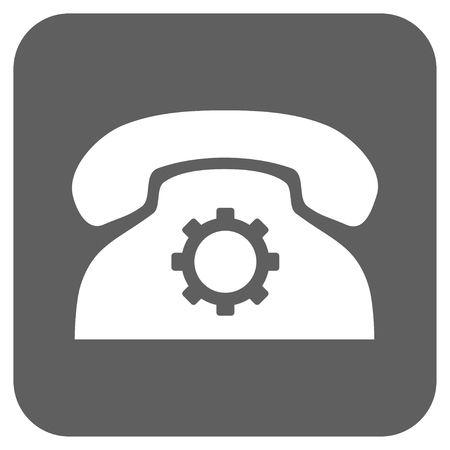 config: Phone Settings vector icon. Image style is a flat icon symbol inside a rounded square button, white and silver gray colors.
