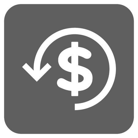 moneyback: Refund vector icon. Image style is a flat icon symbol in a rounded square button, white and silver gray colors.