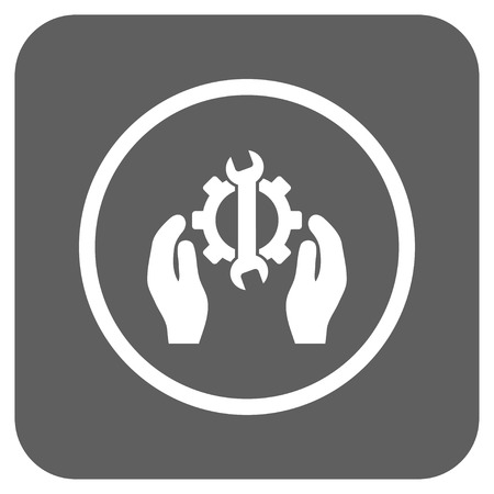 silver service: Repair Service vector icon. Image style is a flat icon symbol inside a rounded square button, white and silver gray colors.