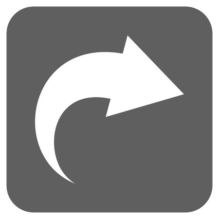 redo: Redo vector icon. Image style is a flat icon symbol inside a rounded square button, white and silver gray colors. Illustration