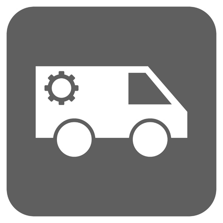 silver service: Service Car vector icon. Image style is a flat icon symbol on a rounded square button, white and silver gray colors.