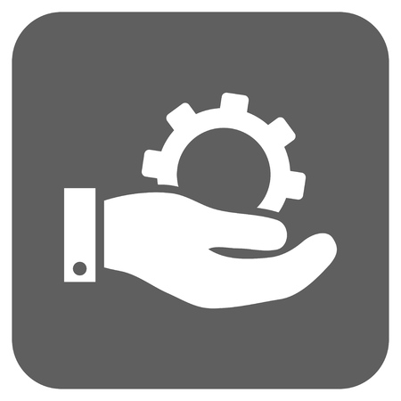 silver service: Service vector icon. Image style is a flat icon symbol on a rounded square button, white and silver gray colors.