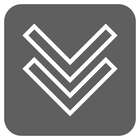 failing: Shift Down vector icon. Image style is a flat icon symbol on a rounded square button, white and silver gray colors. Illustration
