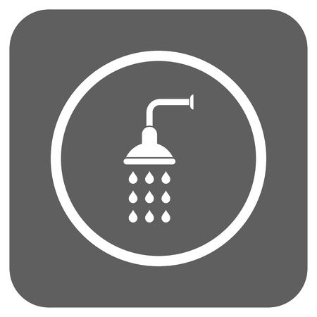 antiseptic: Shower vector icon. Image style is a flat icon symbol in a rounded square button, white and silver gray colors.