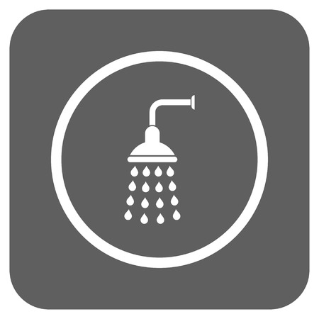 sterilize: Shower vector icon. Image style is a flat icon symbol on a rounded square button, white and silver gray colors.