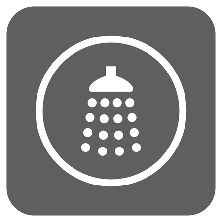 antiseptic: Shower vector icon. Image style is a flat icon symbol on a rounded square button, white and silver gray colors.