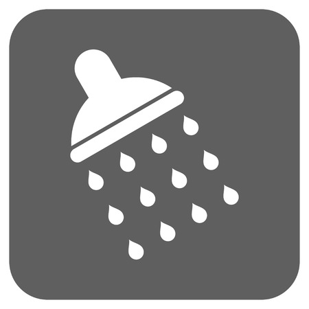 sanitize: Shower vector icon. Image style is a flat icon symbol on a rounded square button, white and silver gray colors.