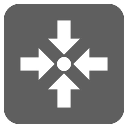 shrink: Shrink Arrows vector icon. Image style is a flat icon symbol inside a rounded square button, white and silver gray colors. Illustration