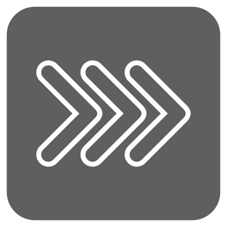 triple: Triple Pointer Right vector icon. Image style is a flat icon symbol on a rounded square button, white and silver gray colors.