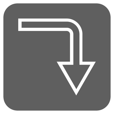 turn down: Turn Down vector icon. Image style is a flat icon symbol on a rounded square button, white and silver gray colors. Illustration
