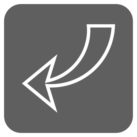 undo: Undo vector icon. Image style is a flat icon symbol inside a rounded square button, white and silver gray colors.