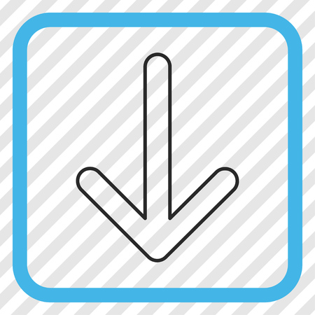 Arrow Down blue and gray vector icon. Image style is a flat icon symbol in a rounded square frame on a transparent diagonally hatched background. Ilustrace