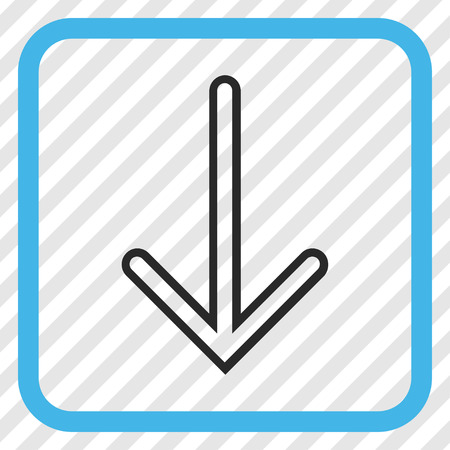 Arrow Down blue and gray vector icon. Image style is a flat iconic symbol in a rounded square frame on a transparent diagonally hatched background.