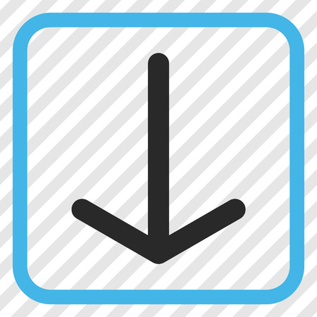 Arrow Down blue and gray vector icon. Image style is a flat icon symbol in a rounded square frame on a transparent diagonally hatched background. Illustration