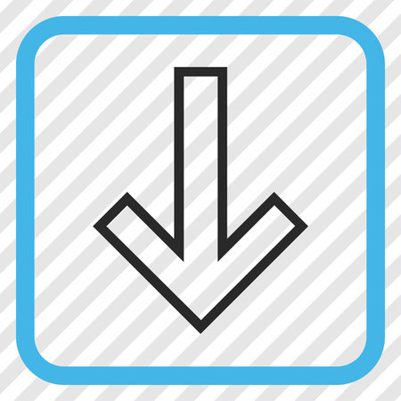 Arrow Down blue and gray vector icon. Image style is a flat pictograph symbol inside a rounded square frame on a transparent diagonally hatched background.