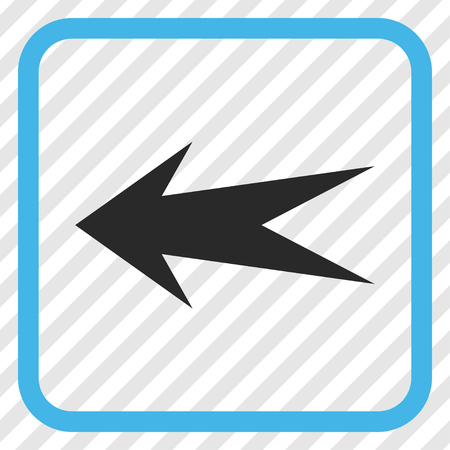 frame less: Arrow Left blue and gray vector icon. Image style is a flat pictograph symbol in a rounded square frame on a transparent diagonally hatched background. Illustration