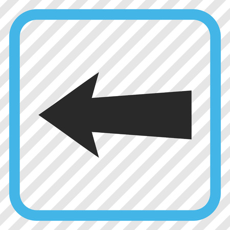 diagonally: Arrow Left blue and gray vector icon. Image style is a flat pictogram symbol inside a rounded square frame on a transparent diagonally hatched background. Illustration