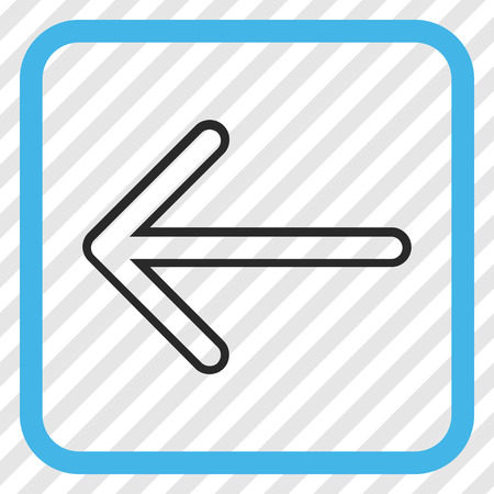 Arrow Left blue and gray vector icon. Image style is a flat pictogram symbol in a rounded square frame on a transparent diagonally hatched background. Illustration