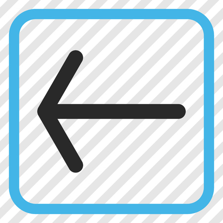 Arrow Left blue and gray vector icon. Image style is a flat iconic symbol in a rounded square frame on a transparent diagonally hatched background.