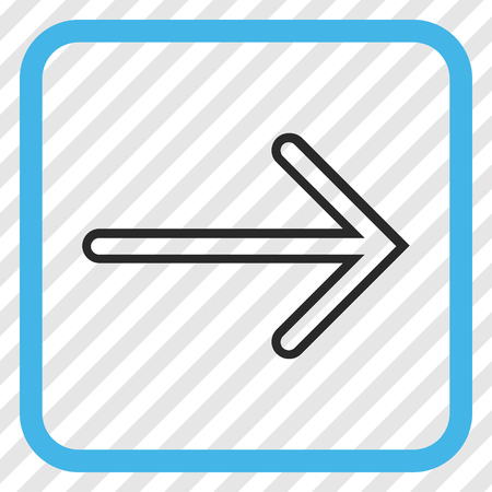 propel: Arrow Right blue and gray vector icon. Image style is a flat icon symbol in a rounded square frame on a transparent diagonally hatched background. Illustration