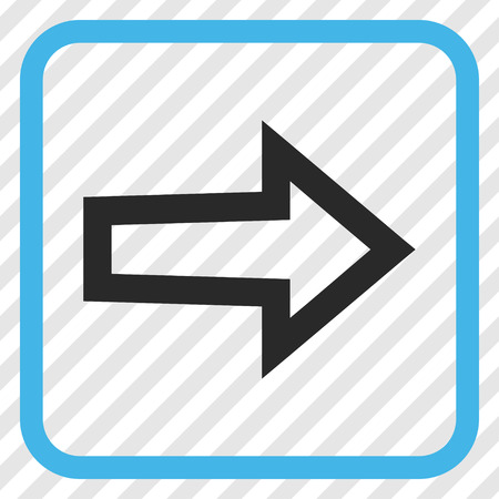 redirect: Arrow Right blue and gray vector icon. Image style is a flat iconic symbol inside a rounded square frame on a transparent diagonally hatched background. Illustration