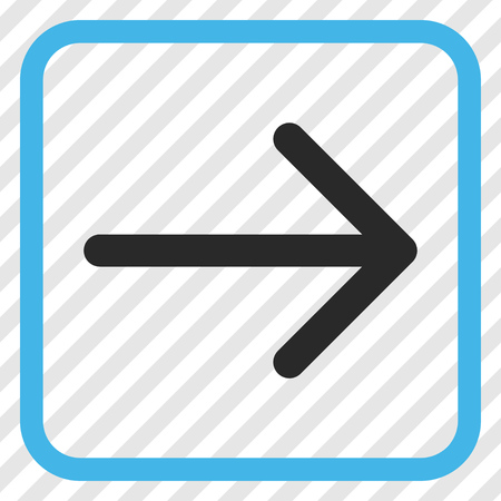 redirect: Arrow Right blue and gray vector icon. Image style is a flat icon symbol inside a rounded square frame on a transparent diagonally hatched background.