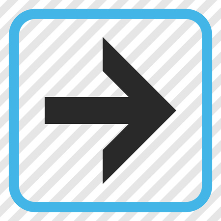 redirect: Arrow Right blue and gray vector icon. Image style is a flat pictogram symbol in a rounded square frame on a transparent diagonally hatched background. Illustration
