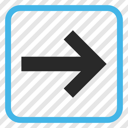 propel: Arrow Right blue and gray vector icon. Image style is a flat pictograph symbol in a rounded square frame on a transparent diagonally hatched background. Illustration