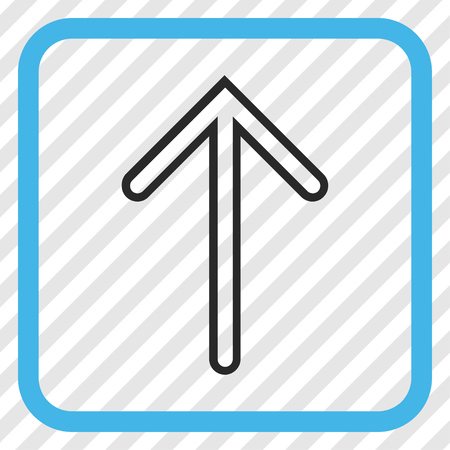 Arrow Up blue and gray vector icon. Image style is a flat pictograph symbol inside a rounded square frame on a transparent diagonally hatched background.