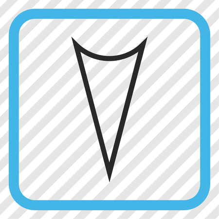 arrowhead: Arrowhead Down blue and gray vector icon. Image style is a flat iconic symbol inside a rounded square frame on a transparent diagonally hatched background.