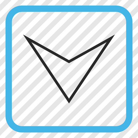 arrowhead: Arrowhead Down blue and gray vector icon. Image style is a flat pictograph symbol inside a rounded square frame on a transparent diagonally hatched background. Illustration