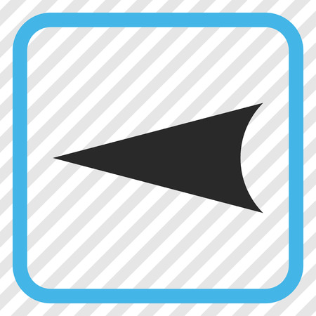 arrowhead: Arrowhead Left blue and gray vector icon. Image style is a flat iconic symbol in a rounded square frame on a transparent diagonally hatched background.