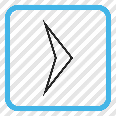 redirect: Arrowhead Right blue and gray vector icon. Image style is a flat pictogram symbol inside a rounded square frame on a transparent diagonally hatched background. Illustration