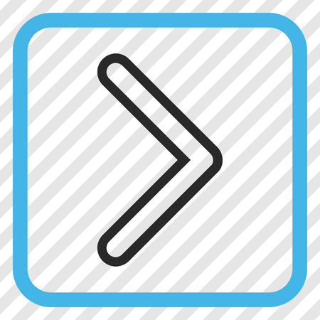 Arrowhead Right blue and gray vector icon. Image style is a flat icon symbol inside a rounded square frame on a transparent diagonally hatched background.