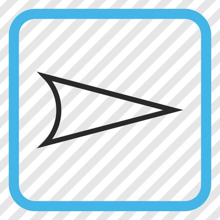 diagonally: Arrowhead Right blue and gray vector icon. Image style is a flat iconic symbol inside a rounded square frame on a transparent diagonally hatched background. Illustration