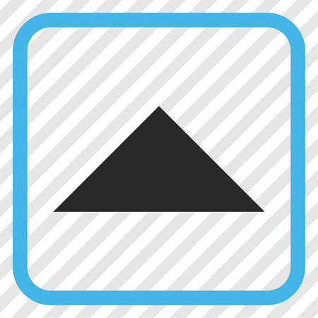 arrowhead: Arrowhead Up blue and gray vector icon. Image style is a flat pictogram symbol in a rounded square frame on a transparent diagonally hatched background.