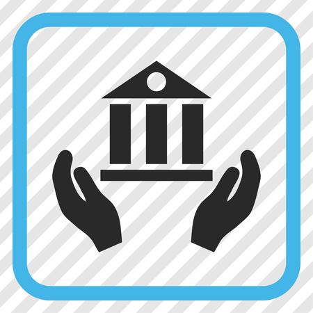 Bank Service blue and gray vector icon. Image style is a flat pictogram symbol inside a rounded square frame on a transparent diagonally hatched background.